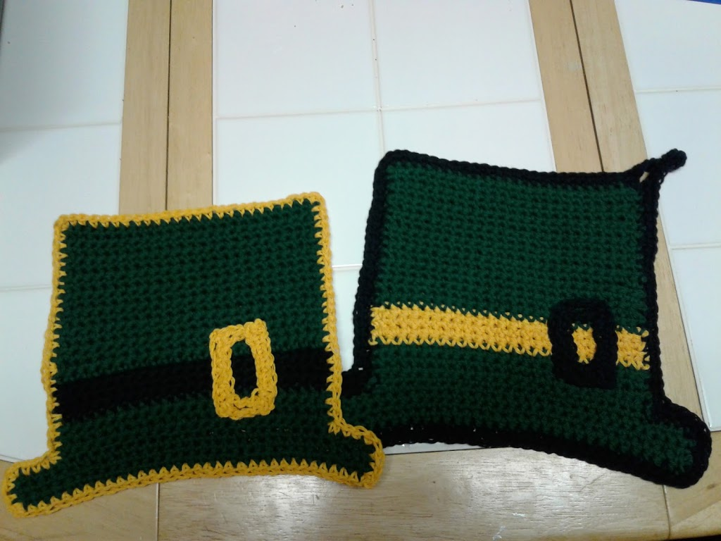 Crochet St Patrick's Day Hat Potholders